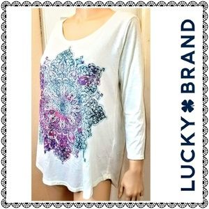 {Lucky Brand} teal/purple mandala long slv tee, L
